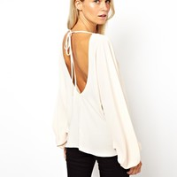 ASOS Top with Oversized Batwing Sleeve and Open Back at asos.com