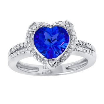 8MM Heart Blue Sapphire Diamond Accent 925 Sterling Silver Ring