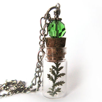 Tiny Fern Glass Bottle Necklace - Tiny Fern in Glass Vial -  Pressed Flower Jewelry - Glass Bottle Pendant -  Botanical Jewelry