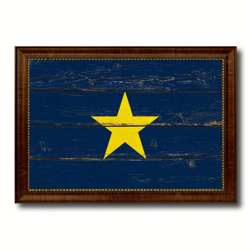 Burnet's 1st Texas Republic 1836-1839 Military Flag Vintage Canvas Print with Brown Picture Frame Gifts Ideas Home Decor Wall Art Decoration