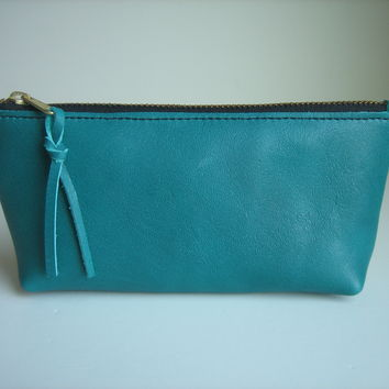 Teal Leather Cosmetic Case