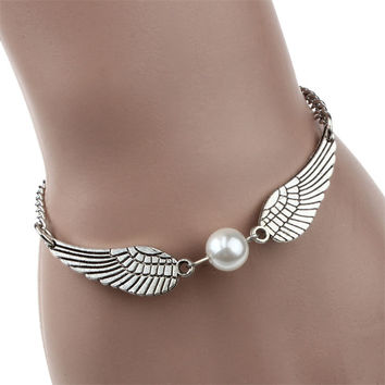 Brand new Silver Infinity Retro Simulated Pearl Angel Wings Jewelry Dove Peace Bracelet for women Girls #20 2016 Gift 1pc