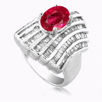 6.10 Carats Ruby Diamond Ring in 14K White Gold
