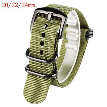 20/22/24mm Watch Band Nylon Replacement Steel Pin Buckle Outdoor Army Style Black Green Military Bracelet Soft Watch Strap