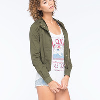 Full Tilt Twill Womens Crop Jacket Dark Green  In Sizes
