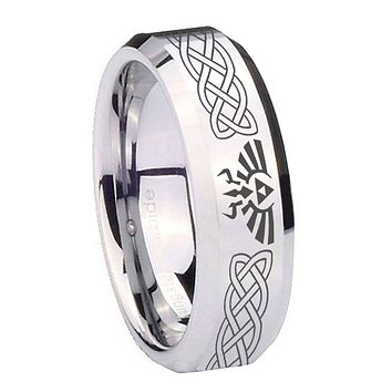 8MM Mirror Bevel Edges Celtic Zelda Silver Tungsten Laser Engraved Ring