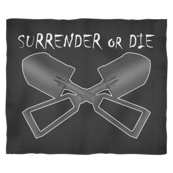Surrender or Die Cross E-Tool Black Fleece Blanket