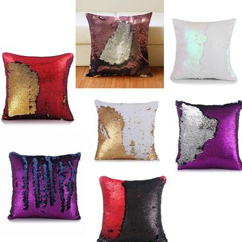40*40cm Reversible Mermaid Sequin pillow cover Cushion Cover magical color changing sequin throw  Pillowcase
