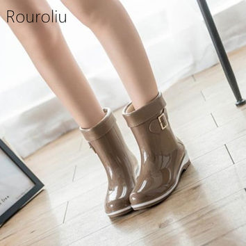 New Fashion Women Mid-calf PVC Rain Boots Non-slip Square Heels Female Rainboots Winter Woman Waterproof Water Shoes ZM17