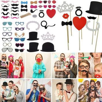 Funny 44pcs DIY Photo Booth Props Lips Moustache On A Stick For Wedding birthday Party Gaming = 1931908228