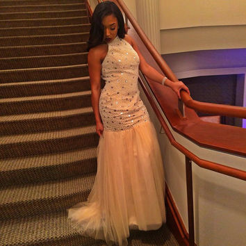 Full Beading Prom Dresses 2017 High Neck Mermaid Champagne Tulle Pageant Gowns Backless Evening Gowns Vestidos de Festa