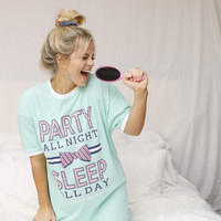 Jadelynn Brooke Party All Night Sleep All Sleep Shirt - Mint