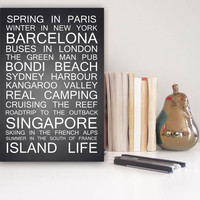 Destination Print, Personalized Destination Print, Travel Art, Subway Print, Bus Scroll Print, Memory Print, Chalkboard Print