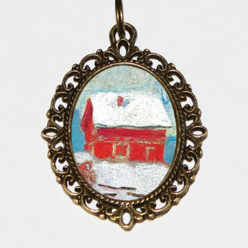 Red Barn Necklace, Winter Scenery, Claude Monet, Farm Jewelry, Oval Pendant