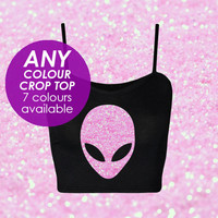 Pink Glitter Alien ANY COLOR crop top UFO Moon Galaxy Planet Nebula Black Crop Tumblr clothing / grunge / seapunk / 90s / pastel goth Top