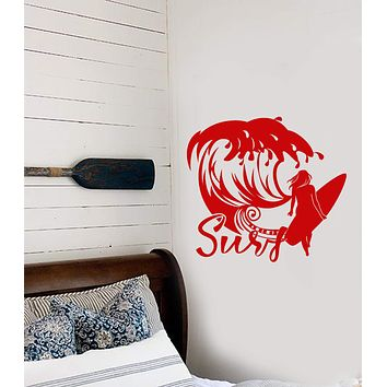 Vinyl Wall Decal Girl Surfer Surfing Water Sports Wave Stickers (3025ig)