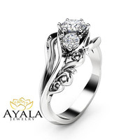 Diamond Three Stone Engagement Ring 14K White Gold Ring Unique Leaves Engagement Ring