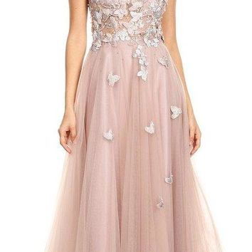 Illusion Bodice Appliqued Mauve Long Prom Dress