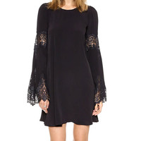 Bell Sleeve Lace Embroidered Mini Dress