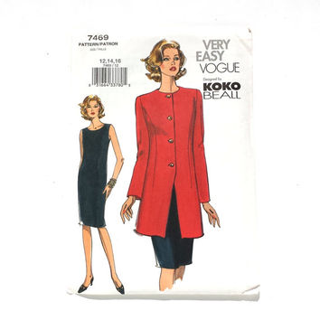 Vogue 7469, Very Easy Vogue, Jacket & Dress Pattern, KoKo Beall, Sizes 12 14 16, Uncut Pattern, Sewing Pattern, Sewing Gift