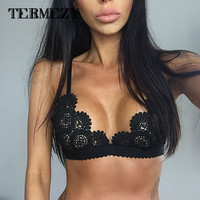 Lace Bralette Transparent Bralet Sexy Crop Top Bra Unpadded Wireless Brassiere See Through Intimates Camis For Women 0517