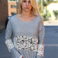 Charcoal + Ivory Crochet Knit