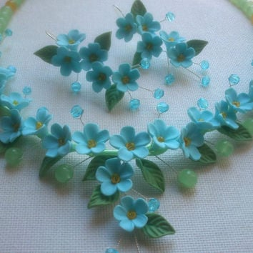 Light blue jewelry -Floral jewelry - Handmade necklace and earrings