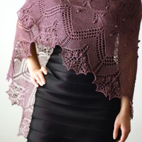 Knit shawl with nupps, laced shawl, gift for her (22 colors available)
