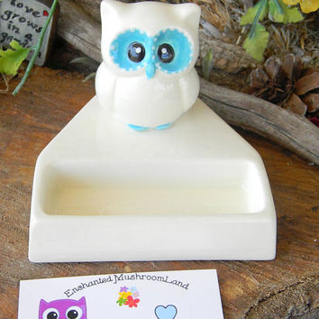 Owl business card holder office desk decor white ceramic glazed in Turquoise