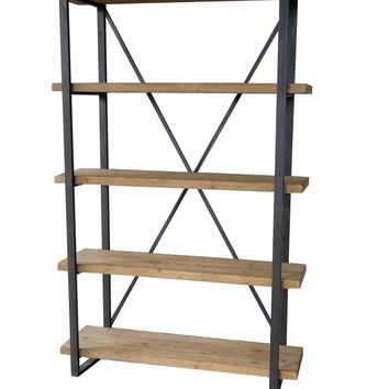 Lex 5 Level Shelf Natural Solid Fir Wood Iron