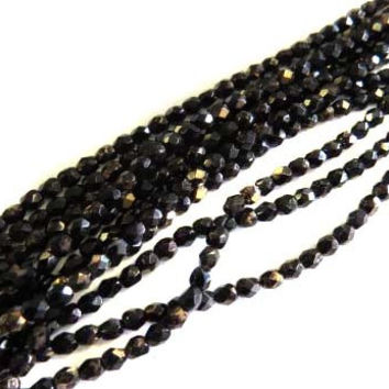 4mm Czech Black Bronze Fire Polished Glass Beads