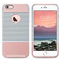iPhone 6 Plus Case,ULAK Slim [Dual Layer] Protection [Scratch Resistant] Hard Back Cover [Shockproof] TPU Bumper Case for Apple iPhone 6/6S Plus [5.5 inch]-Minimal Rose Gold