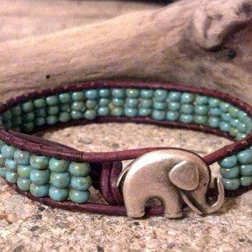 Elephant GOOD LUCK Leather Wrap Bracelet, Friendship Bracelet, Stocking Stuffer, Christmas Gift Idea, Southwestern Boho Gypsy Chic, PZW050