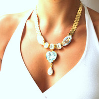 Bib Statement Rhinestone necklace Aqua clear white and blue -  14k Gold plated necklace Rhinestones