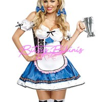 Adult Women's Sexy German Beer Girl Blue and Pink Halloween Costume Dress S/M