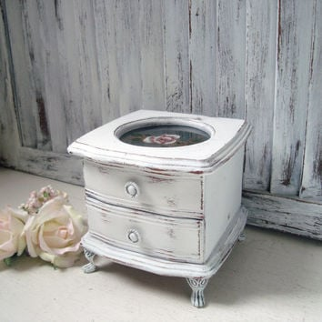 White Vintage Jewelry Box, Small Wooden Jewelry Holder, Footed Jewelry Box, Shabby Chic Distressed Jewelry Box with Floral Glass, Gift Ideas