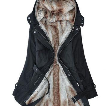 'The Adisynne' Hooded Faux Fur Inner Winter Coat