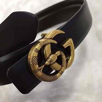 Gucci Snake Fashion Smooth Buckle Belt Leather Belt