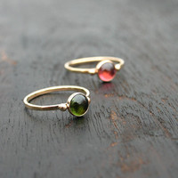 14k solid gold pink or green tourmaline stack ring. Stacking gold ring with pink or green tourmaline gemstone. October birthstone stackable.