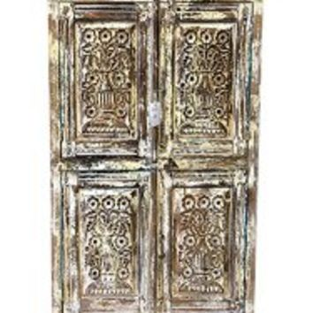 Antique Distressed Cabinet Chest Cupboard Floral Carved Armoire Indian Furniture | Mogul Interior