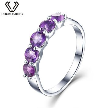 DOUBLE-R Natural Amethyst 1.16 ct 925 Sterling Silver Ring Round Engagement Love Gemstone Ring Women Valentine fine Jewelry Gift
