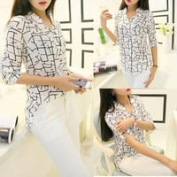 Korean Fashion Women 3/4 Sleeve Elegant Print Chiffon Shirts Tops Summer Blouses = 1958470468