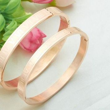 (1 Pair) Rose Gold Plated Stainless Steel Couples/Womens/Mens Cuff Bracelets Bangles Wristband Best Gift for Lover!