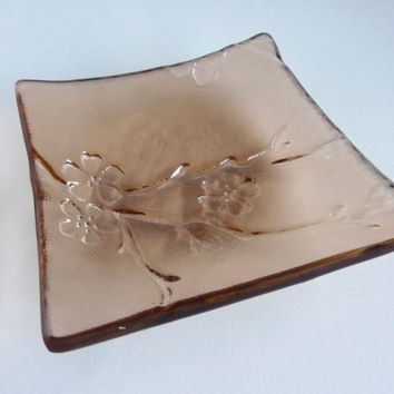 Coral Pink Glass Cherry Blossom Imprint Square Plate