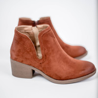 Rust Side Cut Out Booties