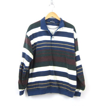 Striped Rugby Polo tee Shirt 90s collar Stripe Boyfriend Henley Top Blue White Oversized baggy Hipster Shirt Men's Large