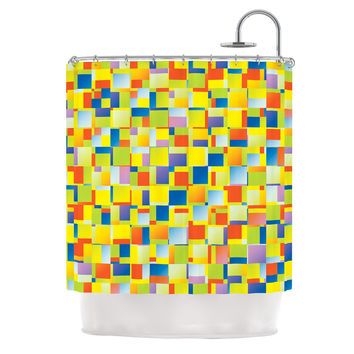 "Dawid Roc ""Multi Color Blocking"" Yellow Geometric Shower Curtain"
