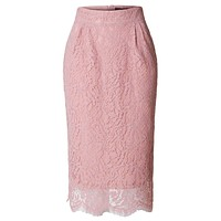 LE3NO Womens Floral Lace High Waisted Pencil Midi Skirt