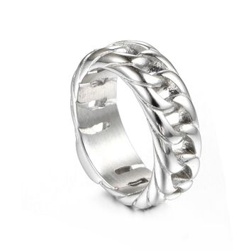 316L Stainless Steel  Ring Letter Signet Ring Wedding Nordic Vintage Bague fashion Men Jewelry