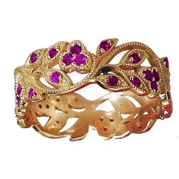 18K Rose gold Amethyst eaves Band Purple Filigree Ring Milgrain Twig Ring